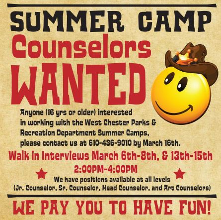 Summer Camp Counselors Wanted Flyer