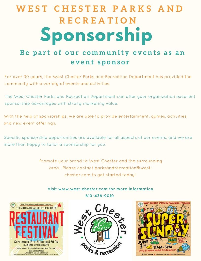 West Chester Parks and Recreation Sponsorship Flyer
